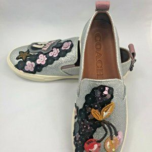 NEW Sz 6.5 Coach Silver Glitter Route 41 Slip-ons